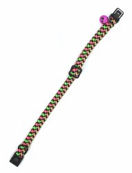 """Buddy Cat Pink and Green Weave Collar with Bell 12"""""""
