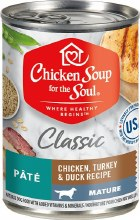 Chicken Soup for the Soul Mature Dog Classic Chicken, Turkey and Duck Recipe Pate 13oz