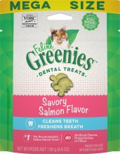 Feline Greenies Dental Treats Savory Salmon Flavor 4.6oz