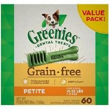 Greenies Grain Free Petite Dog Dental Treats 60 Pack