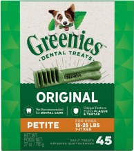 Greenies Original Petite Dog Dental Treat 45 Pack