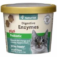 NaturVet Digestive Enzymes Cat Soft Chews with Prebiotics and Probiotics 60ct