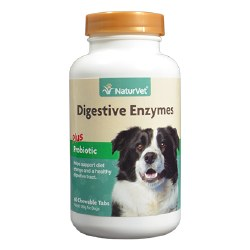 NatureVet Digestive Enzymes Chewable Tablets with Prebiotics and Probiotics 60ct