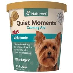NaturVet Quiet Moments Calming Aid Plus Melatonin Soft Chews 70ct