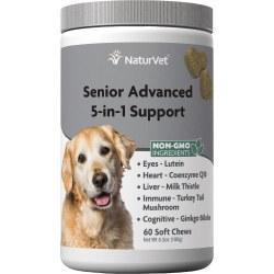 NaturVet Senior Advanced 5-in-1 Support Soft Chews 60ct
