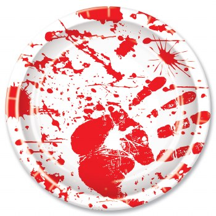 Bloody Handprint Plate 9in