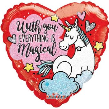 "Mylr 18"" Heart UnicornMagical"