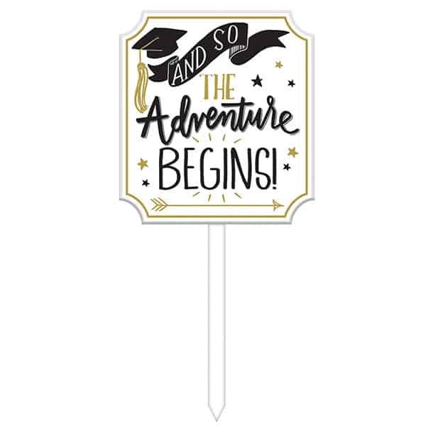 Grad Lawn Sign The Adventure Begins