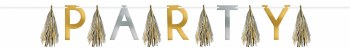 Bday Silver & Gold Tassel Garland Party 10ft
