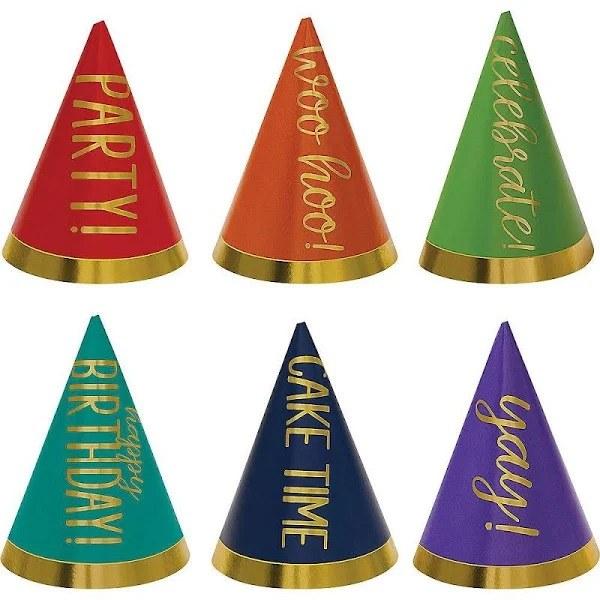 Bday Rainbow Cone Hats Mini 12pk