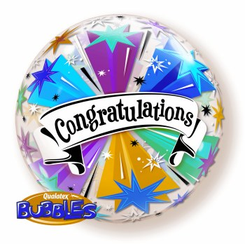 "Congratulations Banner ~ Bubble 22"" (Mylar/Latex Free)"