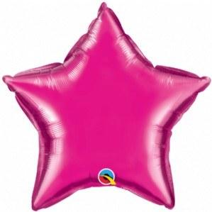 Mylar 20 Star Glitter Magenta