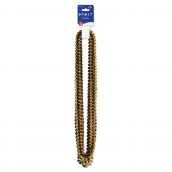 Beads Party Sm Round Blk/Gld