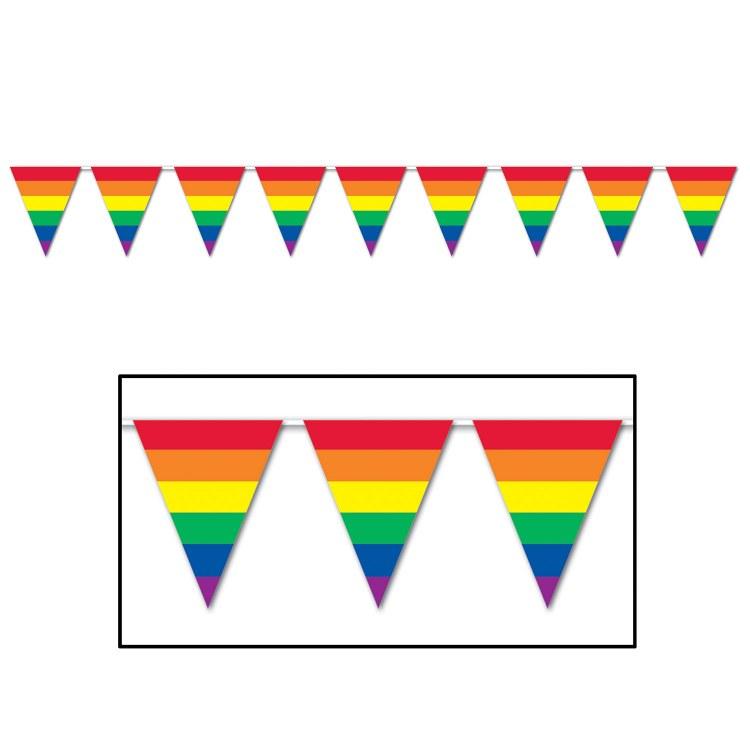 Pennant Banner Rnbw Stripe 30'