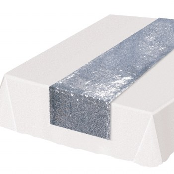 Table Runner Sequin Silver