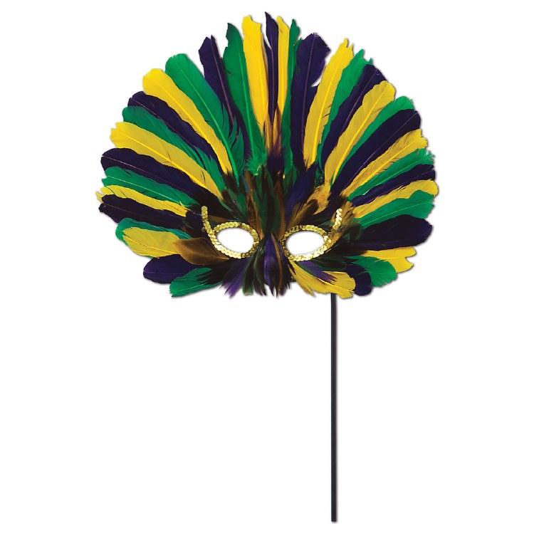 Mask Feather Rainbow on Stick