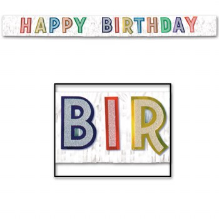Happy Birthday Banner Fringe Metallic