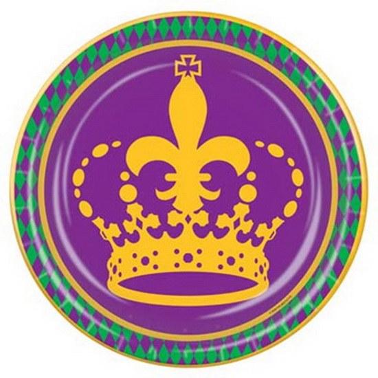 Mardi Gras Plate 7in Crown