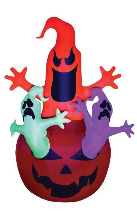 Airblown Neon Ghost w/Pumpkin