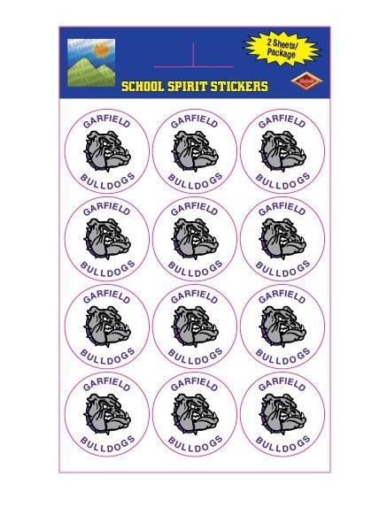 Garfield Bulldogs Sticker Pack 24ct
