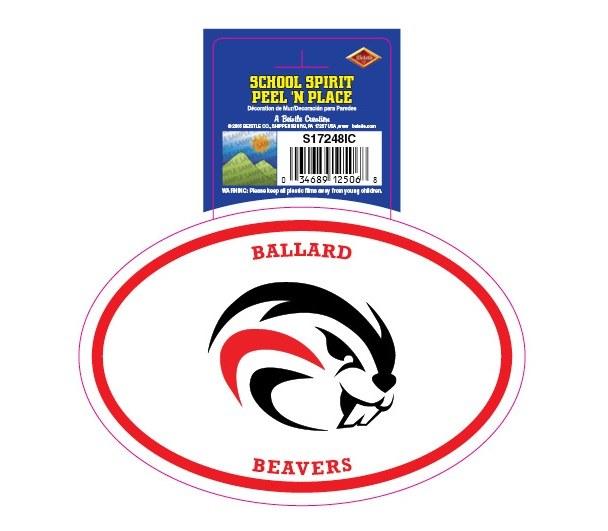 Ballard Beavers Peel'n'Place Oval Sticker