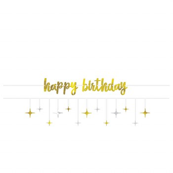 Bday Silver & Gold Banner Kit