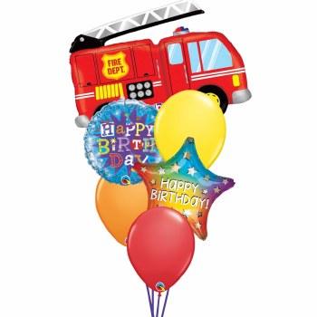 Fire Engine Fun Birthday Balloon Bouquet