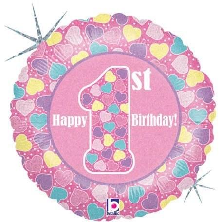 "18"" Happy 1st Birthday ~ Holographic Pink"