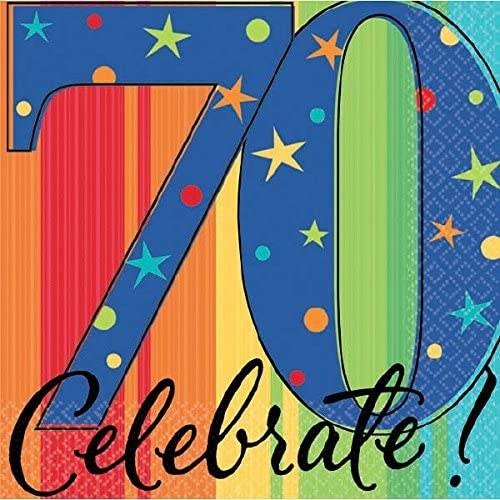 Celebrate 70th Birthday Beverage Napkins 16ct Champion Party Supply