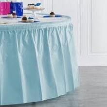 Blue Pastel  Round Plastic Tableskirt