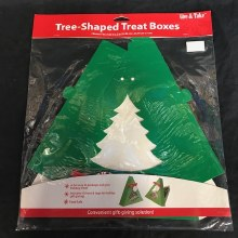 "Green Christmas Tree Shaped Cookie Boxes ~ 2 Pack/9""x9""x2"""