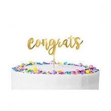 Cake Topper Congrats Gold
