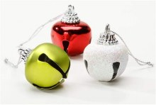 """Red, Green, & White Iridescent Jingles Bells ~ 21 Pack/1.18""""x1.34"""""""