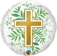 """Gold Cross With Greenery ~ 18"""""""