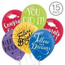 Colorful Graduation Balloon Bundle ~ 15 Balloons