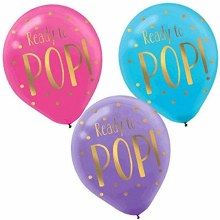 """Ready To Pop 12"""" Latex Party Bundle ~ 6 Balloons"""