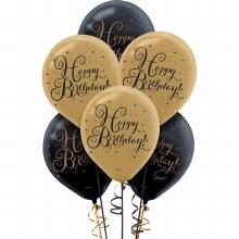 Gold Birthday Latex Bllns 15pk