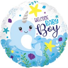 """Welcome Baby Boy Blue Narwhal ~ 17"""""""