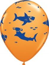 "Fun Sharks ~ ORANGE ~ 11"""