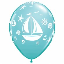 "Blue Carribbean Nautical/Sailboat/Anchor Print ~ Matte Finish 11"""