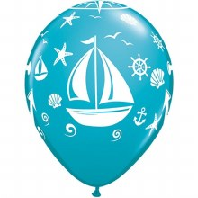 "Blue Tropical Teal Nautical/Sailboat/Anchor Print ~ Matte Finish 11"""