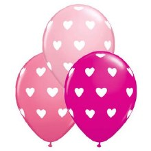 """Latex Balloon ~ Assorted Pink w/ White Hearts ~ 11"""""""