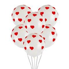"""Latex Balloon ~ White W/ Red Hearts ~ 11"""""""