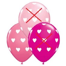 "Pink Rose w/ White Hearts ~ Matte Finish 11"""