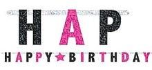 Banner Happy Birthday Pink/Black