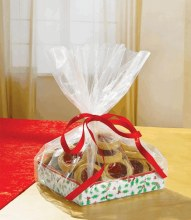 Small Holly Treat Trays & Bags w/ Ribbon ~ 2 Pack