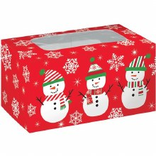 "Snowman Treat Boxes ~ 2 Pack/6""x3""x3"""
