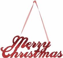 "Merry Christmas Glitter Sign ~ 12"" x 4.5"""