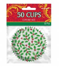 Holly Cupcake Baking Cups ~ 50 Pack