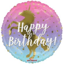 Happy Birthday Pastel Ombre with Gold Unicorn Silhouette ~ 17in